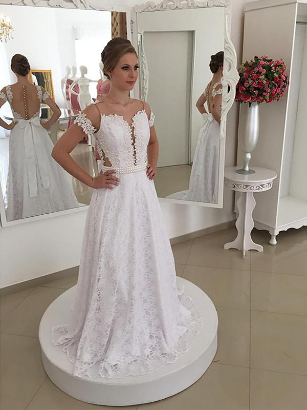 A-Line/Princess Scoop Lace Short Sleeves Sweep/Brush Train Wedding Dresses