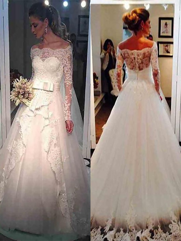 Ball Gown Off-the-Shoulder Tulle Long Sleeves Sweep/Brush Train Wedding Dresses