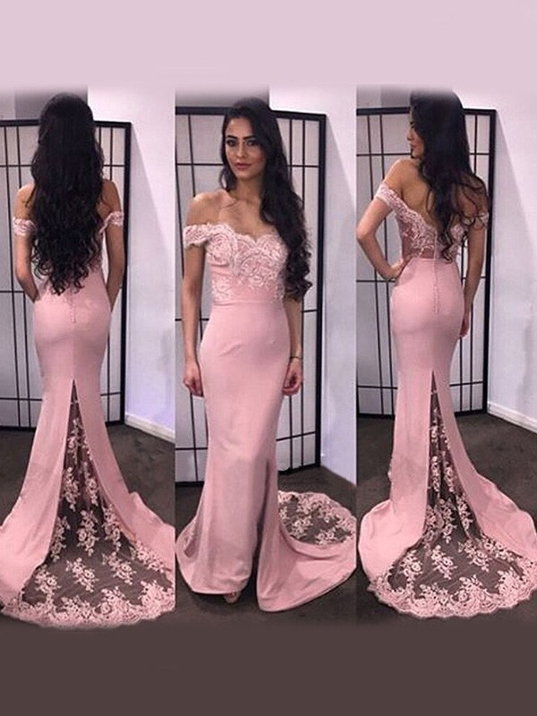 Trumpet/Mermaid Off-the-Shoulder Satin Long Sleeves Sweep/Brush Train Dresses