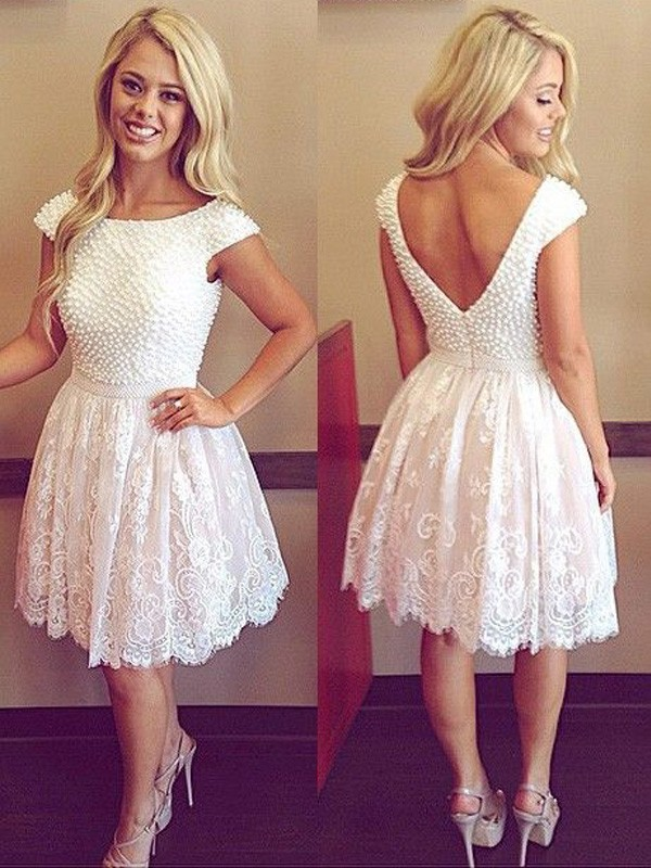 A-line/Princess Scoop Lace Short Sleeves Short/Mini Dresses