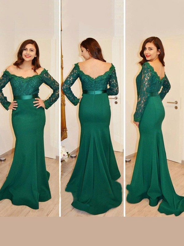Trumpet/Mermaid Off-the-Shoulder Satin Long Sleeves Floor-Length Dresses