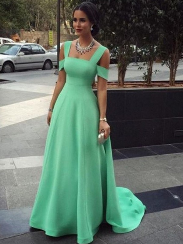 A-Line/Princess Straps Satin Sleeveless Floor-Length Dresses