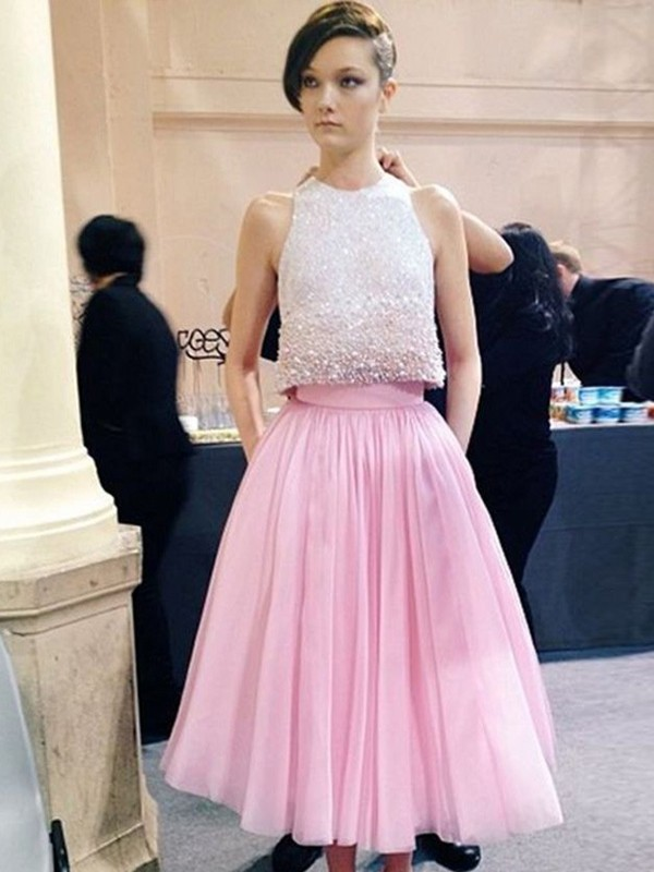 A-Line/Princess Scoop Tulle Sleeveless Tea-Length Dresses