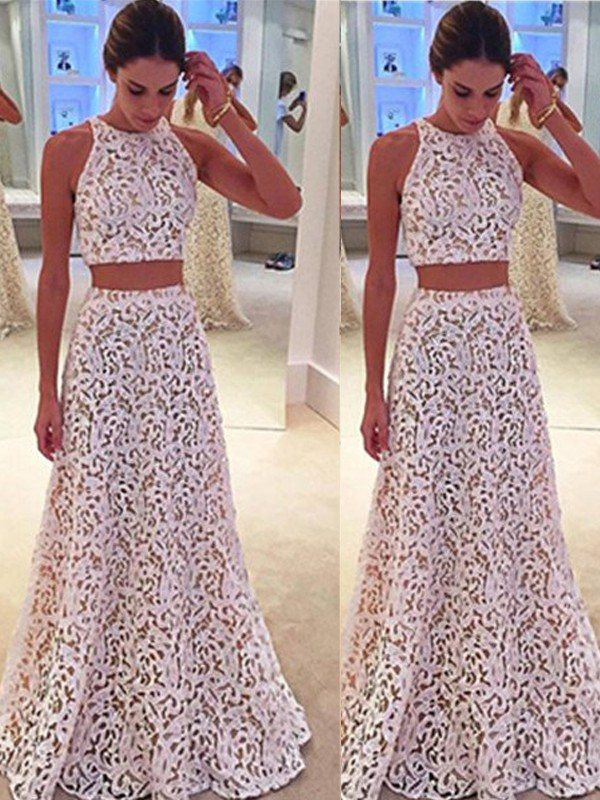 A-Line/Princess Scoop Lace Sleeveless Floor-Length Two Piece Dresses