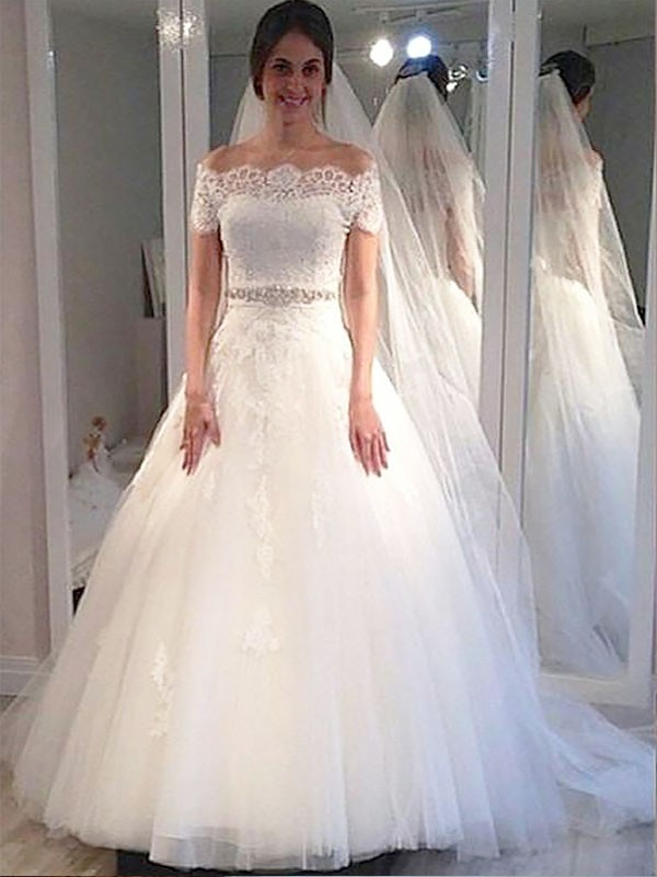 Ball Gown Off-the-Shoulder Tulle Short Sleeves Sweep/Brush Train Wedding Dresses