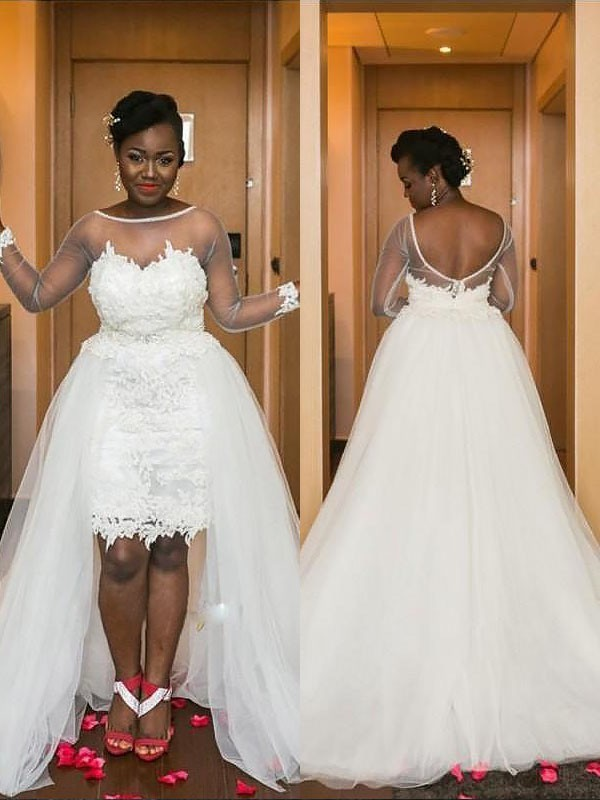 A-Line/Princess Scoop Tulle Long Sleeves Court Train Wedding Dresses