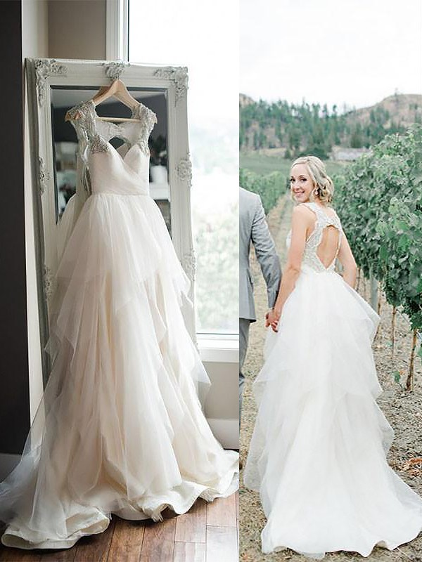 A-Line/Princess Straps Tulle Sleeveless Sweep/Brush Train Wedding Dresses