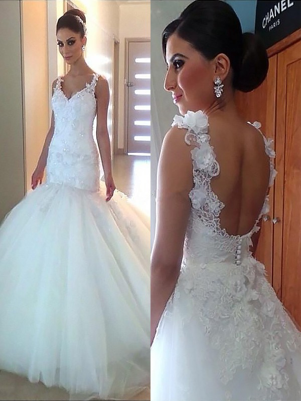 Trumpet/Mermaid Straps Organza Sleeveless Court Train Wedding Dresses
