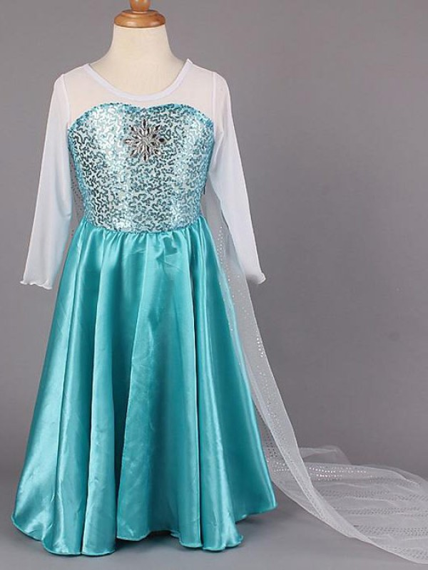 A-Line/Princess Scoop Satin Long Sleeves Floor-Length Flower Girl Dresses