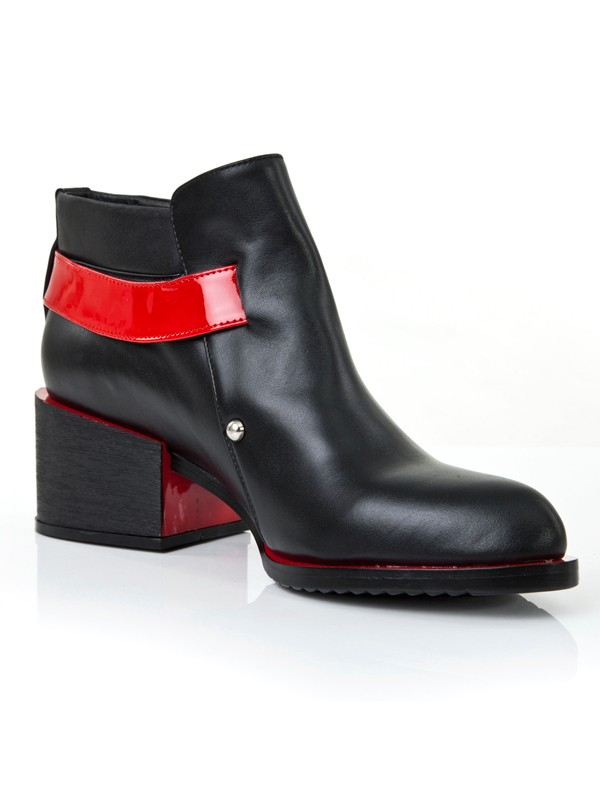 Women's Kitten Heel Closed Toe Cattlehide Leather With Buckle Red Booties