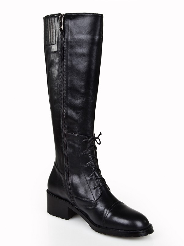 Women's Cattlehide Leather Kitten Heel Closed Toe With Zipper Knee High Black Boots