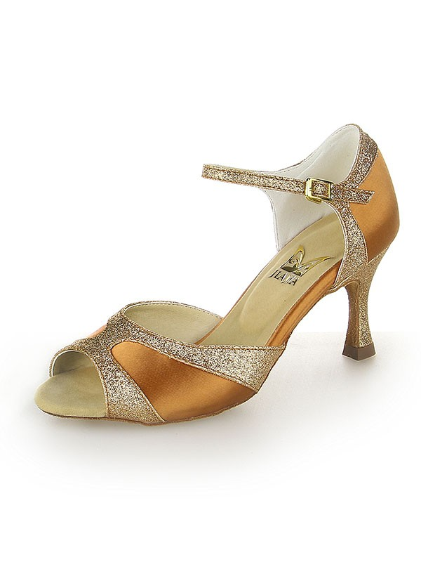 Women's Satin Peep Toe Sparkling Glitter Stiletto Heel Dance Shoes