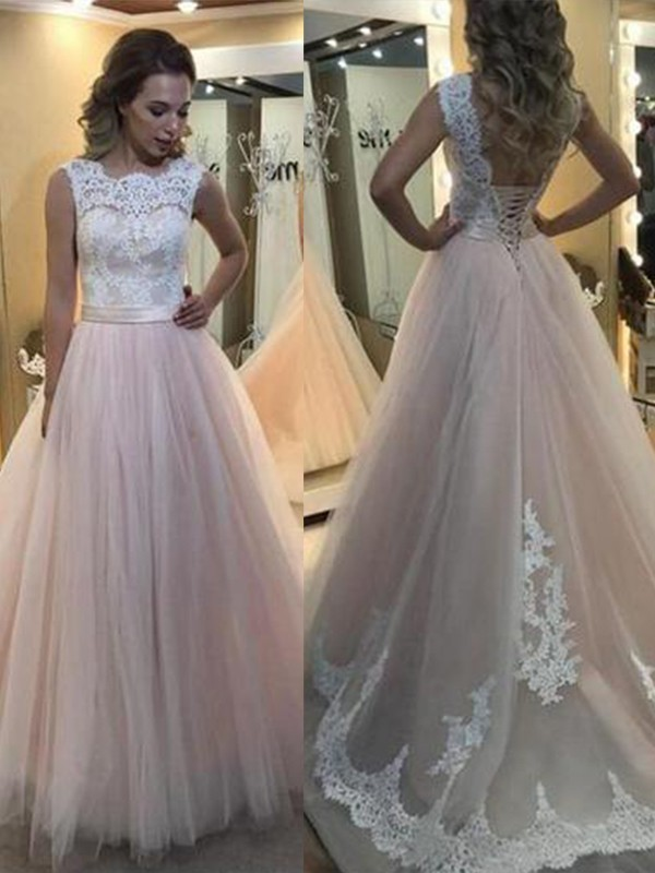A-Line/Princess Bateau Tulle Sleeveless Sweep/Brush Train Dresses