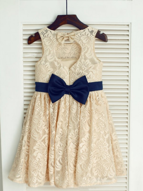 A-Line/Princess Scoop Lace Sleeveless Tea-Length Little Girl Dresses