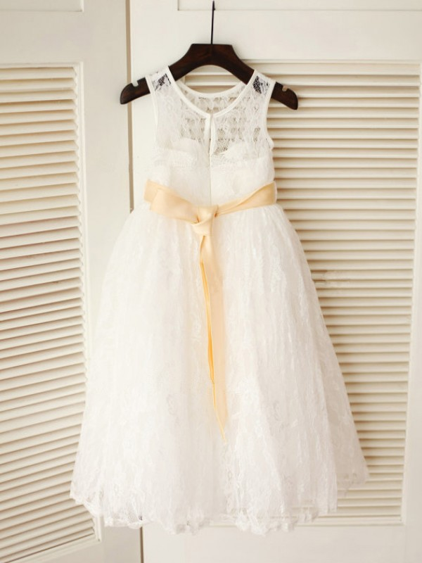 A-Line/Princess Scoop Lace Sleeveless Ankle-Length Little Girl Dresses